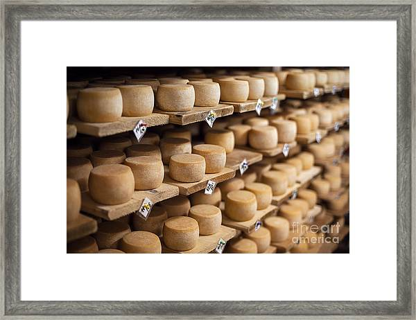 Cow Milk Cheese, Stored In A Wooden Framed Print by Maxim Golubchikov