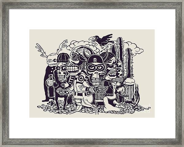 Crazy Persons, Bikers, Skulls And Framed Print
