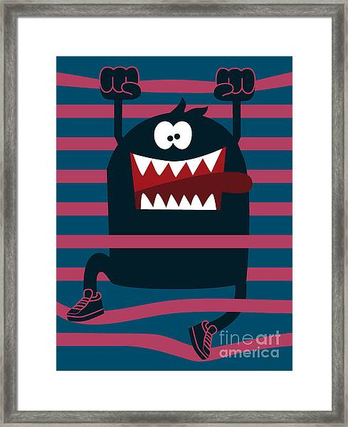 Cute Monster Vector Character Design Framed Print