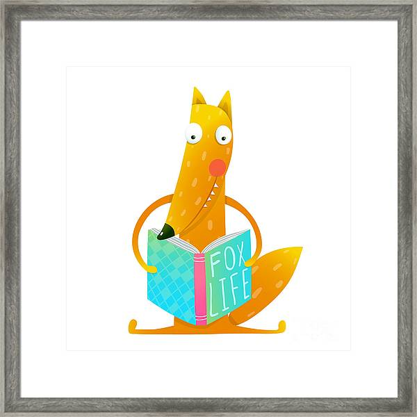 Cute Red Fox Sitting And Reading Book - Framed Print
