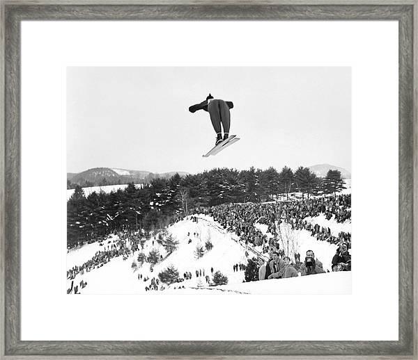 Dartmouth Carnival Ski Jumper Framed Print by Underwood Archives