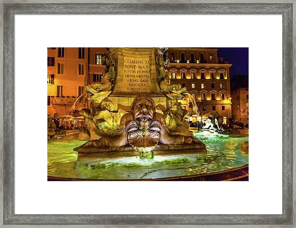 Della Porta Fountain, Piazza Della Framed Print by William Perry
