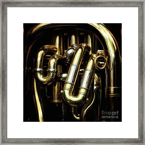 Detail Of The Brass Pipes Of A Tuba Framed Print