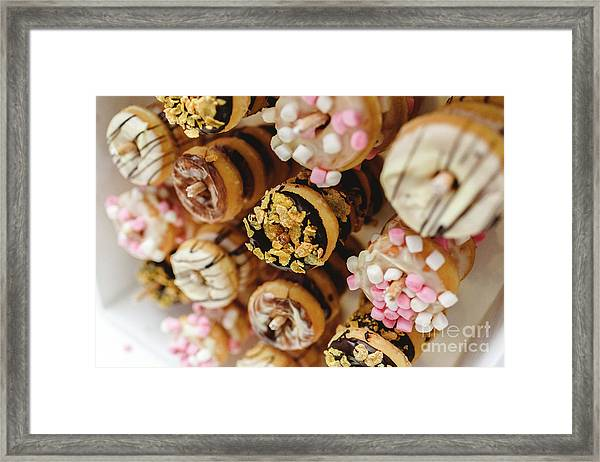Donuts Of Different Flavors, To Put On An Unhealthy Diet Framed Print