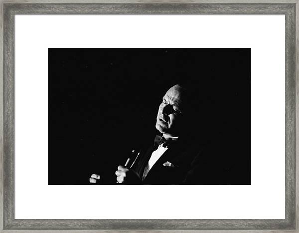 Entertainer Frank Sinatra Singing Framed Print by John Dominis