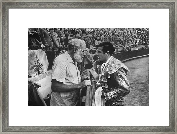 Ernest Hemingwayantonio Ordonez Framed Print by Loomis Dean
