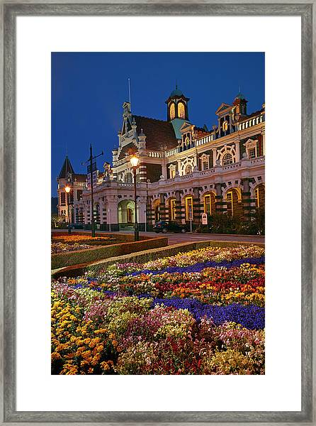 Flower Garden And Historic Railway Framed Print by David Wall
