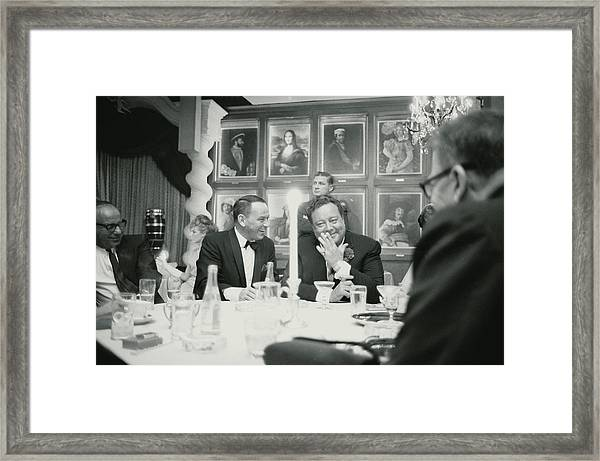 Frank Sinatra L Sharing A Laugh With Framed Print by John Dominis