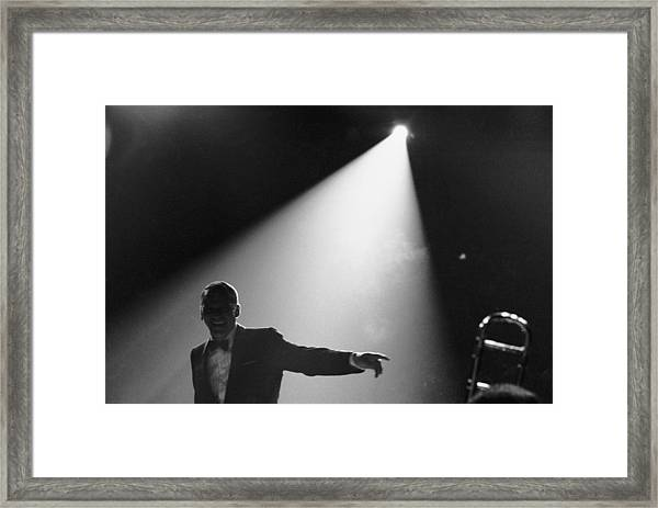 Frank Sinatra On Stage Framed Print by John Dominis