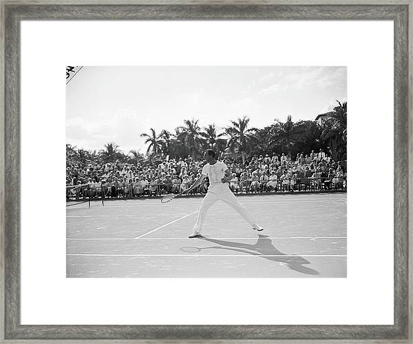 Fred Perry On The Court Framed Print
