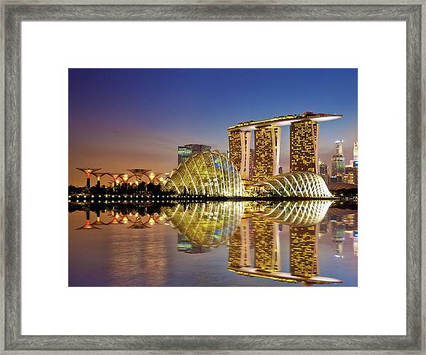 Gardens By Bay Framed Print by Seng Chye Teo