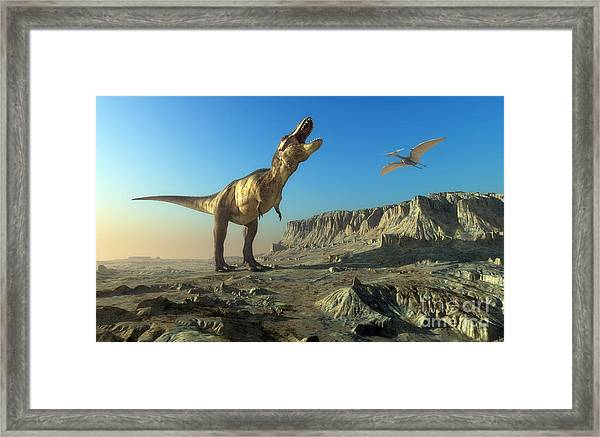 Giant Dinosaur In The Background Of The Framed Print