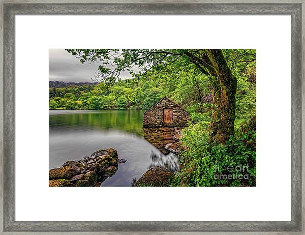 Gwynant Lake Boat House Framed Print