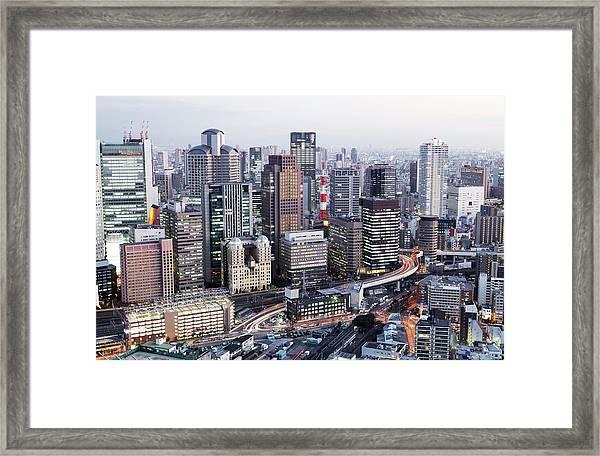 High View Of Umeda Framed Print