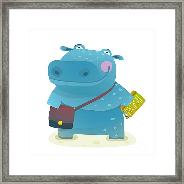 Hippopotamus Kid Student With Book And Framed Print