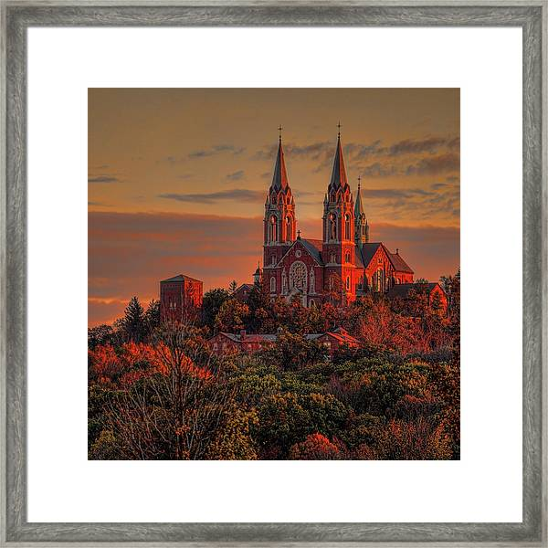 Holy Hill Sunrise Square Framed Print