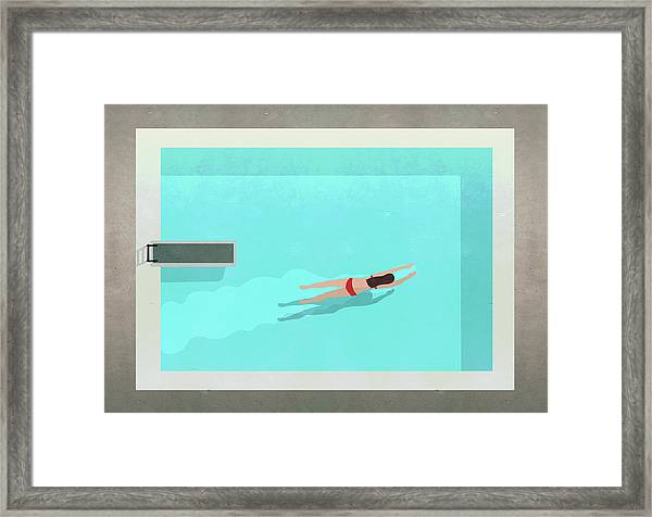 Illustration Of Woman Swimming In Pool Framed Print