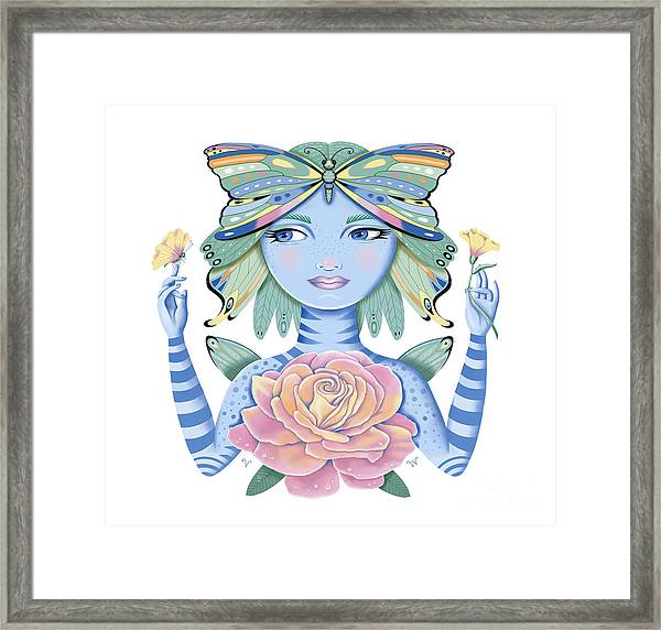 Insect Girl, Winga, With Rose Framed Print