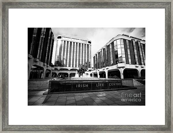Irish Life Centre With Chariot Of Life Sculpture And Fountain Dublin Republic Of Ireland Europe Framed Print by Joe Fox
