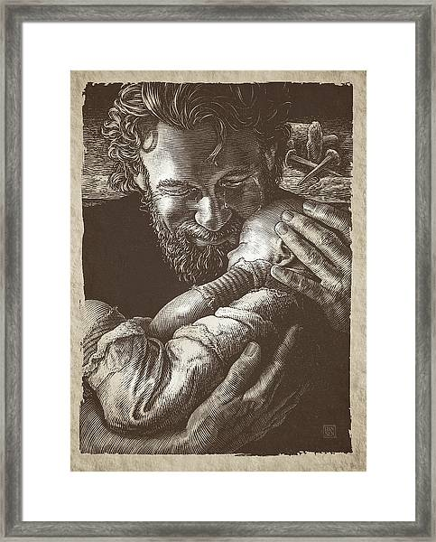 Framed Print featuring the drawing Joseph by Clint Hansen