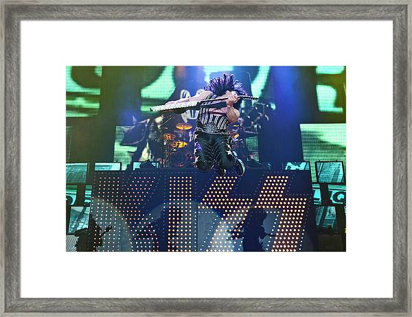 Kiss Perform At Wembley Arena In London Framed Print by Neil Lupin