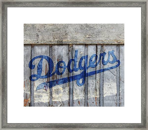 La Dodgers Rustic Framed Print