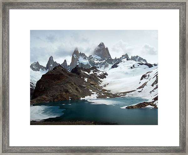 Laguna De Los Tres And Fitz Roy Framed Print