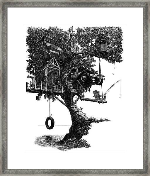 Framed Print featuring the drawing Lake Front Dream House by Clint Hansen