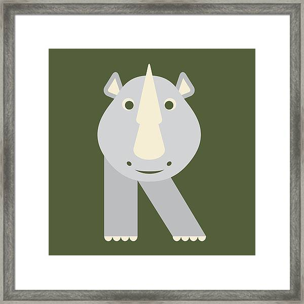 Letter R - Animal Alphabet - Rhino Monogram Framed Print