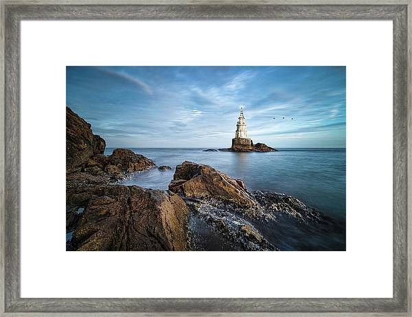 Framed Print featuring the photograph Lighthouse In Ahtopol, Bulgaria by Milan Ljubisavljevic