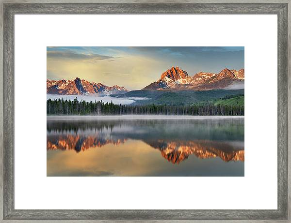 Little Redfish Lake, Sawtooth Mountains Framed Print