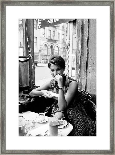 Loren In New York Cafe Framed Print