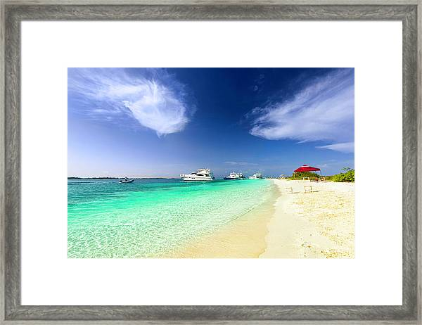 Luxury Yachts Anchored In A Tropical Framed Print