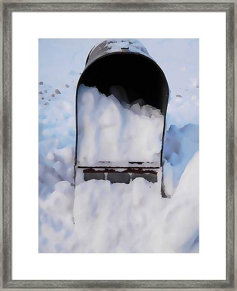 Mailboxes Covered In Snow 5 Framed Print