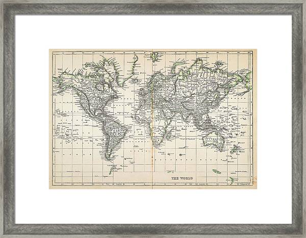 Map Of The World 1855 Framed Print by Thepalmer