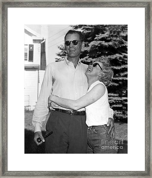 Marilyn Monroe And Her Fiance, Arthur Framed Print
