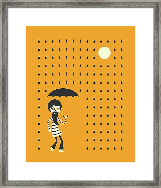 Minimal Rain Framed Print by Jazzberry Blue