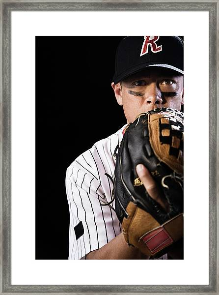 Mixed Race Baseball Player Pitching Framed Print