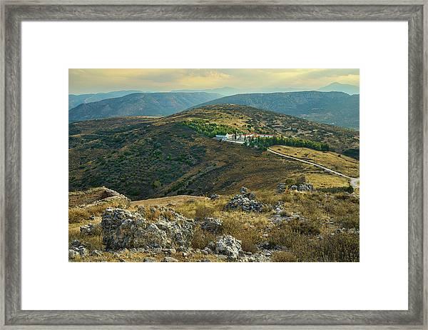 Framed Print featuring the photograph Monastery Agion Anargiron Above Argos by Milan Ljubisavljevic