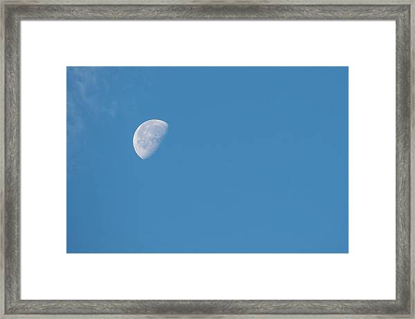 Moon With Clouds And Blue Sky Framed Print by Cindy Miller Hopkins