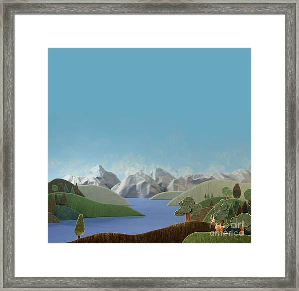 Mountains Panorama With Deer - Alpine Framed Print