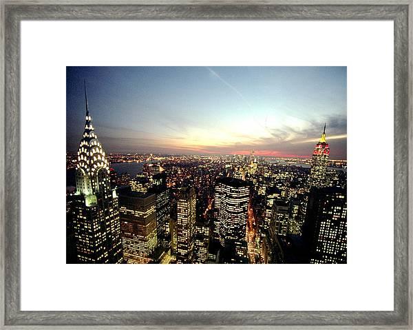 New York City Skyline At Dusk With The Framed Print