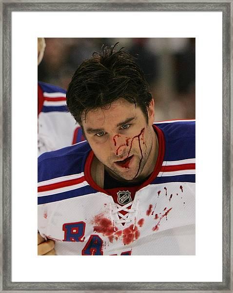 New York Rangers V Pittsburgh Penguins Framed Print by Bruce Bennett