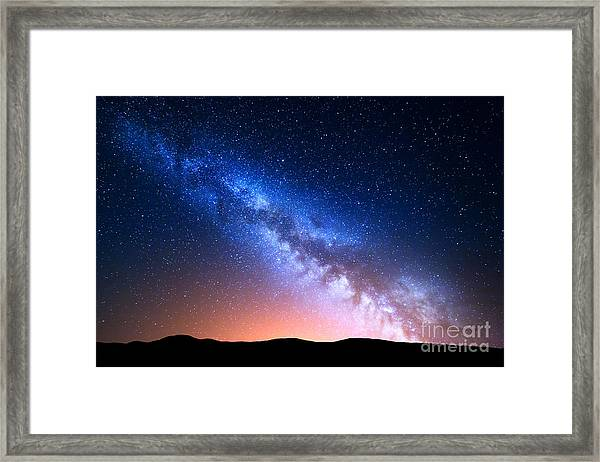 Night Landscape With Colorful Milky Way Framed Print