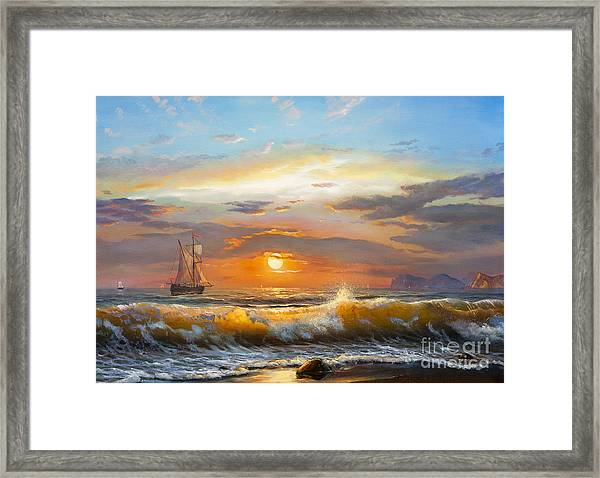 Oil Painting On Canvas , Sailboat Framed Print