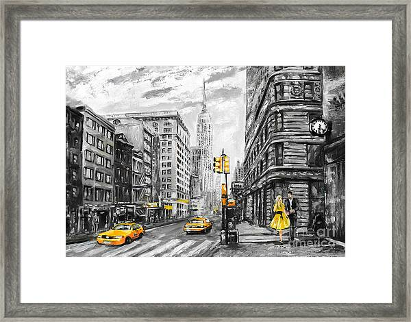 Oil Painting On Canvas, Street View Of Framed Print