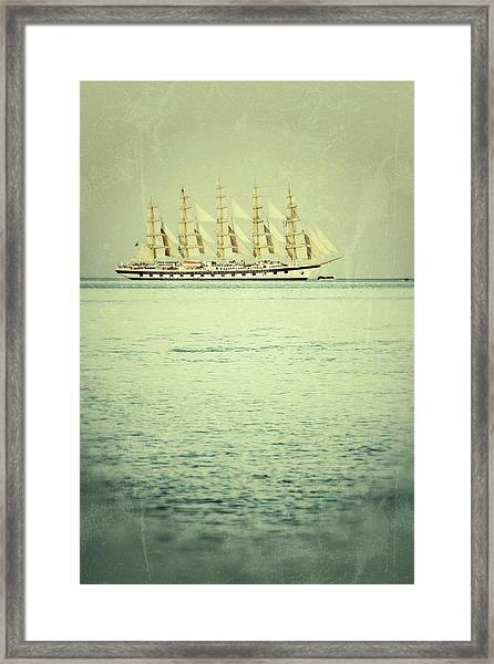 Old Vessel Sailing Away Framed Print