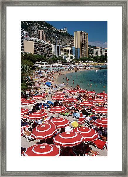 Overhead Of Red Sun Umbrellas At Framed Print