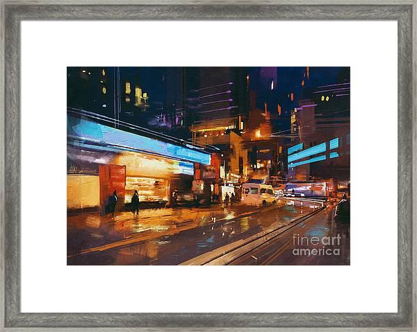Painting Of Street In Modern Urban City Framed Print