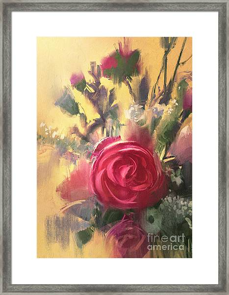 Painting Showing Bouquet Of Beautiful Framed Print